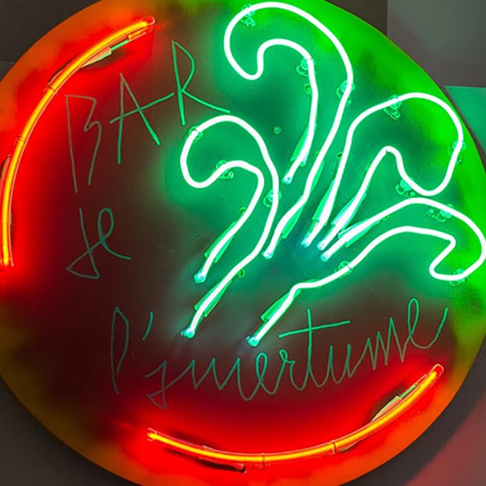 Manuel Pomar art contemporain contemporary art néon néon light enseigne neon sign signs Toulouse dérive amertume dessin histoire pop référence nature culture techniques mixtes mix media painting abstrait painting peinture peinture abstraite alcool Suze Campari cocktail bartender bar culture modernité Colors Pop culture appropriation