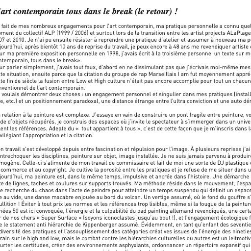 Manuel Pomar text texte critique art contemporain contemporary art